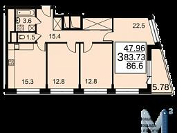 Продам трехкомнатную квартиру в новостройке 86.6 м2 город Москва, улица Автозаводская, 23к2